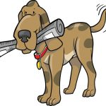 Royalty-free clipart graphic picture of a cute hound dog wagging his tail and fetching a newspaper. This adorable hound has a newspaper in his mough and is happily wagging his tail.